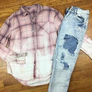 Upcycled Flannel Bleach Dye